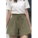 Fashion Plain Drawstring High Waist Summer Loose Casual Paperbag Shorts