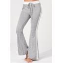 Womens Stylish High Waist Tie Self Striped Side Flare Pants Sweatpants