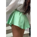 Girls Summer Hot Trendy Green Simple Plain Elastic Waist High Rise Wide-Leg Culottes Shorts