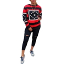 Fashion Star Striped Printed Round Neck Long Sleeve Red Pullover Sweatshirt
