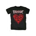 Unique Cool Heart Shaped Skull Print Short Sleeve Black Tee