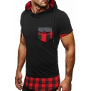 Mens New Stylish Plaid Patched Flap Pocket Front Short Sleeve Hooded Slim T-Shirt