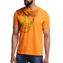 Creative Painted Portrait Face Print Round Neck Short Sleeve Yellow T-Shirt
