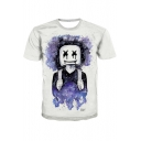 Cool Unique Galaxy Figure Print Round Neck Short Sleeve White Tee