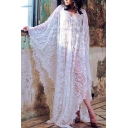 Hot Stylish V Neck Back and Front Oversize Straps Back Sheer Lace Holiday Maxi Kaftan Dress