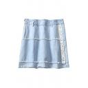 Summer Hot Fashion Tassels Hem Letter Print Blue Denim Mini Skirt
