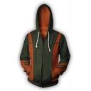 Classic Game Cosplay Costume DEMON DEAD Print Back Green Long Sleeve Zip Up Hoodie