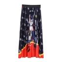 Summer Hot Trendy Cat Print Elastic Waist Colorblack Pleated A-Line Midi Leisure Skirt