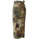 Summer Hot Trendy Floral Print Tie-Side Fitted Maxi Wrap Skirt