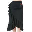Womens Hot Sexy Rose Embellished Commute Asymmetric Ruffle Trim Elastic Waist Fitted Midi Skirt
