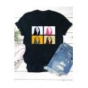Street Style Popular American Singer Bleeding Girl Print Black Short Sleeve Tee