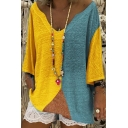 Women Fashion Color Block V-Neck Bat Sleeve Loose Fitted T-Shirt