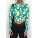 Summer Stylish Cool Allover Green Heart Print Mock Neck Long Sleeve Slim Crop T-Shirt
