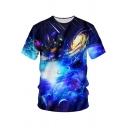 3D Blue Whirlpool Universe Galaxy Printed Round Neck Short Sleeve T-Shirt