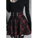 Womens New Stylish Check Print Lace Up Front Tight Waist Flared Mini Skirt