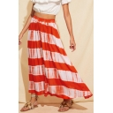New Stylish Womens Elastic Waist Tie Dye Holiday Midi Swing Skirt