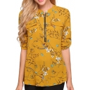 Hot Stylish Floral Print Stand Collar Zip-Front Faux Pockets Long Sleeve Chiffon Blouse