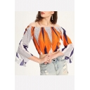 Summer New Arrival Womens Colorblock Off Shoulder Bell Sleeve Elastic Waist Crop Blouse
