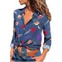 New Stylish Womens Floral Print Button Down Lapel Collar Long Sleeve Cotton Leisure Shirt