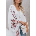 Summer Hot Stylish White Floral Print Long Sleeve Open Front Oversize Chiffon Shirt