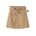 Summer Hot Fashion Vintage Khaki Bucket Belt Front Fake Pocket Embellished Mini A-Line Skirt