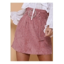 Womens Fashion Paperbag High Waist Belt- Tie Pink Corduroy A-Line Mini Skirt