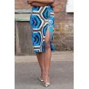 Summer Hot Fashion Blue High Waist Geometric Print Sexy Split Side Midi Skirt for Women