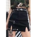 Hot Stylish Cool Womens Black High Waist Chain Eyelet Embellished Split A-Line Mini Skirt