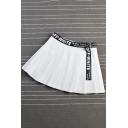 Womens Hot Fashion High Waist Letter Print Ribbon Embellished A-Line Pleated Mini Skirt