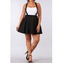 Hot Fashion Womens Black High Waist Crisscross Straps Back Pleated Mini Romper Skirt