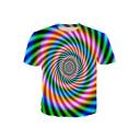 Fashion 3D Colorful Whirlpool Stripe Print Basic Short Sleeve T-Shirt