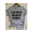 Hot Trendy Letter I LIKE COFFEE Printed Round Neck Short Sleeve Loose Casual Tee