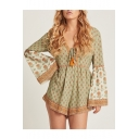 Hot Trendy Green Sunflower Printed Tie-Front Flare Sleeve Holiday Rompers
