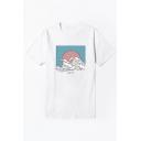 Trendy Sea Wave Printed Basic Round Neck Short Sleeve White T-Shirt