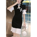New Arrival Chic Vintage Black Short Sleeve Frog Button Ruffle Trim Patch Midi Fitted Dress