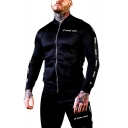 Mens Fashion Simple Letter Printed Stand Collar Long Sleeve Zip Up Slim Fitted Training Running Jacket