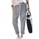 Grey Striped Printed Drawstring Waist Rolled Cuff Tapered Pants