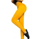Womens Stylish Chic Plain High Waist Quick Dry Ventilation Cutout Skinny Fitted Yoga Legging Pants