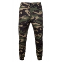 Men's New Fashion Cool Camouflage Printed Army Green Casual Pencil Pants Multi-pocket Cargo Pants