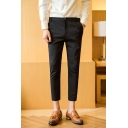 Men's New Fashion Simple Plain Slim Fit Casual Cropped Dress Pants