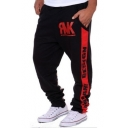 Men's Popular Fashion Letter LEGEND Printed Drawstring Casual Relaxed Sports Sweatpants