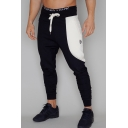 Guys New Stylish Colorblock Patched Logo Embroidery Slim Sports Sweatpants