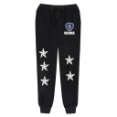 New Fashion Badge Stars Printed Drawstring Waist Casual Relaxed Sweatpants