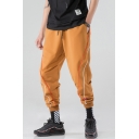 Men's Stylish Colorblock Stripe Trim Drawstring Waist Street Style Casual Loose Cotton Tapered Pants