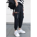 Men's Street Trendy Letter Printed Black Casual Cotton Cargo Pants with Side Pockets