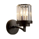 Black Fake Candle Wall Light American Rustic Metal Wall Light with Crystal Shade for Bedroom Hallway