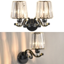 Clear Trapezoid Shade Sconce Light 1/2 Heads Traditional Crystal & Metal Wall Light for Study Room