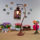 Multi-Color Birdcage Desk Light One Bulb Moroccan Stylish Iron Table Light with Crystal for Bedroom