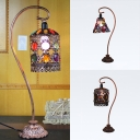 1 Head Conical/Cylindrical Desk Light Moroccan Metal Table Light with Crystal Bead for Adult Bedroom