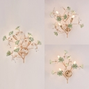 Ceramics Flower Wall Light with Flower Living Room 3 Lights Elegant Style Sconce Light in Green/Pink/White